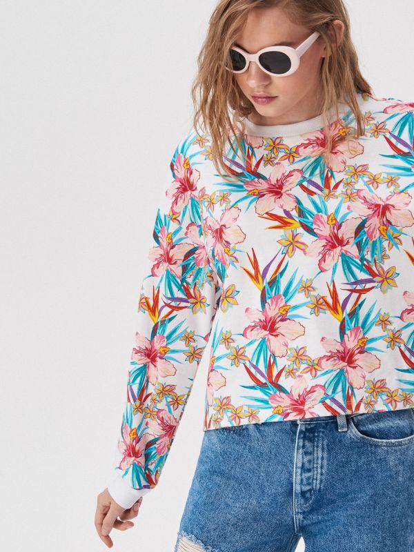 ea8cc20544 Nyomott mintás pulcsi · Trópusi virágos pulóver - többszínű - VU907-MLC -  SINSAY