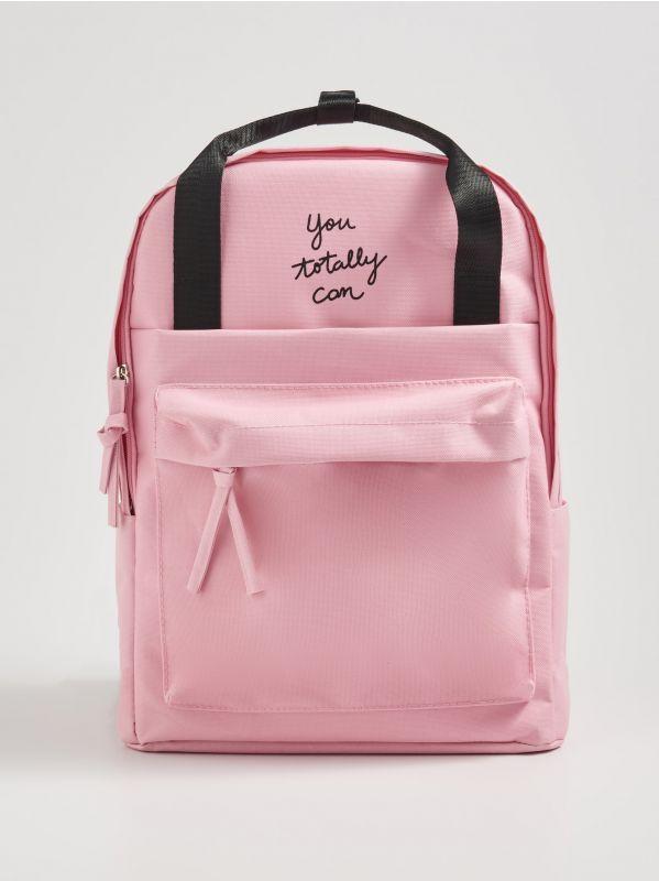 bfd97aa4d8f5b Czarny plecak z napisem · Różowy plecak z napisem - różowy - WG252-03X -  SINSAY